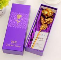 Wholesale golden roses flowers - 24K Gold Foil Plated Rose Romantic Valentine's Day Gift Golden Rose Flower