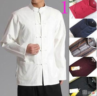 Wholesale Traditional Chinese Shirts Men - Star costume cotton denim men traditional Chinese style clothing shirt only