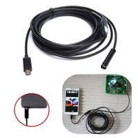 ingrosso tubo di serpente dell'ispezione dell'endoscopio del borescope-5.5 millimetri 6 LED 1 M Micro USB android endoscopio Periscopio impermeabile HD 720P 1.3MP Inspection Camera Snake Tube per PC Android 5 pz