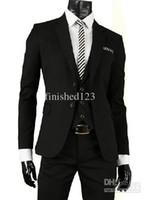 Wholesale Complete Black Suit - Wholesale-2015 Custom Made Black Two buttons Groom tuxedos complete designer Best man suit (jacket+pants+waistcoat+tie) ok:309