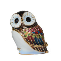 Wholesale Pendants Enamel Boxes - Mini fashion box alloy metal owl bird jeweled trinket box enamel rhinestone jewelry box container bird figurine metal giftwares