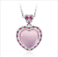 Wholesale Fine Jewelry Silver Heart Pendant Guaranteed Solid Sterling Silver Pendant With Pink Opal yh4215
