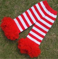 girls striped ruffle leggings 2018 - Christmas leg Warmer Red Striped Baby Leg Warmer With red Chiffon Ruffle Leg Warmer toddler leggings