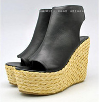 Wholesale Espadrille Sandals - Fashion Original Quality 100% Real Photoes Luxury Ce Espadrille Wedge Sandals Open Toe Gladiator Casual Shoes