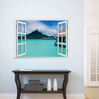 Wholesale Sea Poster Landscape - Sea View Wall Decal Sticker 3D Fake Window View Wall Art Mural Decor Home Decoration Wall Applique Poster Scenery Wallpaper