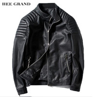 Wholesale- HEE GRAND Men Fashion Pu Coat 2017 New Arrival Stand Collar Special Shoulder Design Spring Autumn Leather Ouywear M-3XL MWP375