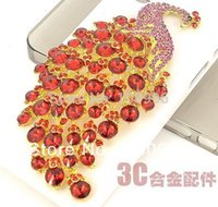 Wholesale Phone Decorating Charms - Wholesale-new big size gold plated pink rhinestones peacock alloy DIY DECO sticker Flatback for charms to decorate phone cases 2pcs Dy491