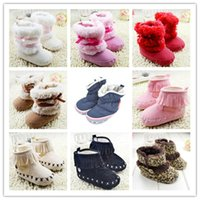 Wholesale Red Boots For Toddlers - Newborn Baby Girls Boy Bowknot Snow Boots Toddler Shoes Prewalker Winter Warm Fleece Boots 0-18M for free shipping