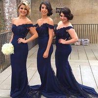 Wholesale Dress Boda - 2016 Elegant Off Shoulder Floor Length Navy Blue Lace Mermaid Bridesmaid Dresses With Vestido Invitada Boda Largo For Wedding Party Dress