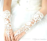 Wholesale Victorian Bridal Accessories - Extra Cheap Long Wedding Gloves French Lace Long Gloves Ivory White Lace Fingerless Gloves Bridal Gloves Wedding Accessory Victorian CPA242