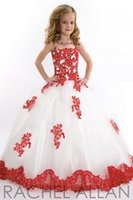 Wholesale Layers Little Girl - 2015 Amazing White & Red Puffy Girl's Pageant Dresses Layers Pleated Crystal Flower Girl's Dress Gowns Tiers Ruffled Dresses for Little Girl