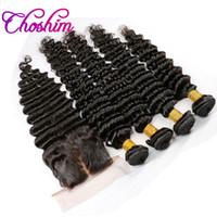 peruvian remy saç paketi toptan satış-3/4 Demetleri ile ipek Taban Kapatma Perulu Hint Malezya Brezilyalı Saç Demetleri Işlenmemiş Remy Derin Dalga Bakire Saç Uzantıları