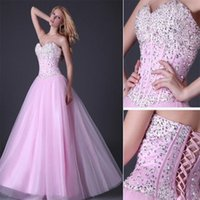 Wholesale Cheap Silk Clothing - Navy Pink Shine Crystal Long Prom Dresses 2017 Sweetheart Lace-up A-Line Tulle Evening Gown Cheap Clothes China Special Occasion Dresses