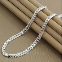 кулоны из серебра 925 пробы оптовых-Wholesale-Fashion High quality  new womens mens male female 925 Sterling silver Necklace Necklaces Pendant chain Link Pendants KX130