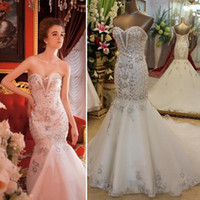 Wholesale Heavy Sequin Lace - 2015 Real Sample Luxury Wedding Dresses Empire Sweet-heart Lace-up Back Mermaid Long White Organza Crystals Heavy Beading Bridal Gowns