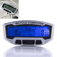 Wholesale bike speedometer backlight - Bicycle Computer Waterproof Backlight LCD Bike Computer Odometer Speedometer Velometer With Clock Stopwatch Free Shipping