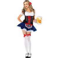Wholesale Movies German - Wholesale-German Bavarian Beer Garden Bar Serving Girl Oktoberfest Party Favors Halloween Fancy Dress Costume Set