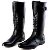 italienische dressing man boots großhandel-Italian Design New Tide Lange Stiefel Für Männer Spitzschuh Lace Up Mit Schnalle Motorradstiefel Mann Dressing Up pu-leder Martin Boot 38-44