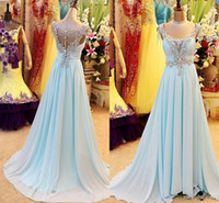Wholesale Greek Style Evening Gowns - Real Sample Light Blue Chiffon Crystal Prom Party Dresses Beaded Backless Greek Arabic Style Evening Celebrity Pageant Gowns Plus Size 2016