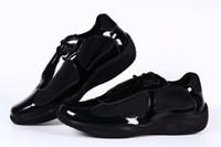 italienische tasse großhandel-Italienische Designer Männer Schwarz Freizeitschuhe Mode Patent Mit Mesh Sneaker Sportschuh Für Mann American Cup Schuhe Größe 39-46