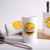 Wholesale face mugs - 6 Styles Lovely Smiling Face Emoji Mug Porcelain Poop Shit Cup Cartoon Amused And Sad Cool Couple Mugs Coffee Cups CCA8361 60pcs