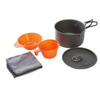 Wholesale Cw Cooking Pot - ALOCS CW-S03 1-2 People Aluminum Portable Outdoor Camping Hiking Backpacking Cooking Picnic Cookware Cup Bowl Pot Dishcloth Set