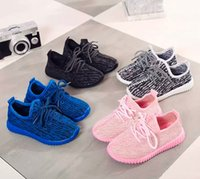 Wholesale Baby Girl Hot Pink Shoes - HOT Cheap Baby Kids Kanye-West 350 Boost Children Athletic Shoes Boys Running Shoes Girls Casual Shoes Baby Training Sneakers Size 21-35
