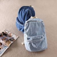 Wholesale Denim Backpacks For Women - Wholesale-Unisex Vintage Washed Denim denim backpack american apparel double-shoulder denim backpack aa denim school bag for man and women