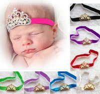Wholesale Wholesale Hair Jewerly Accessories - Newest Hair Accessories Jewerly Crown Baby Hair Wrap With Elastic Headband Baby Prop Outfit 12 Colors CF336