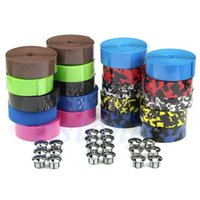 Wholesale Bicycle Handlebars Tape - Free Shipping Cycling Handle Belt Bike Bicycle Cork Handlebar Tape Wrap +2 Bar Plug
