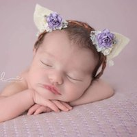 Wholesale Cat Hair Ribbon - Newborn hair band kids cute cat ear headwear children lace stereo flowers Bows ribbon headband baby photography props R1018