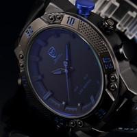 Wholesale Shark Sport Watches - Kitefin Shark Series Blue LED Back Light Auto Date Display Leather Strap Quartz Digital Outdoor Sport Men Military Watch   SH265