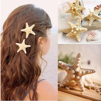Wholesale Cheap Holiday Accessories - Cheap Price beach hair Fashion personality of pure natural starfish beach holiday edge clip hair accessories hairpin