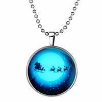 Wholesale Christmas Car Accessories - Christmas Gift Pendant Necklace Santa with Elk Car Luminous Long Alloy Resin Necklace 21g 60cm Clothing Accessories