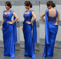 Wholesale Saree Laces - Arabic Indian Women Evening Dresses 2015 Sexy Royal Blue Cheap Sheath Applique Sheer Wrap Party Formal Prom Gowns Party Saree