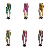 Wholesale Shiny Cotton Leggings - Mermaid Fish Scales Leggings Women Mermaid Slim Tights Jeggings Tail Fins Shiny Fitness Pencil Pants 6 Styles OOA3390