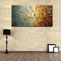 Wholesale Picture Cartoon Flower - Free shipping Golden reed flower oil paintings on canvas 100% handmade wall art home decoration hand-painted pictures