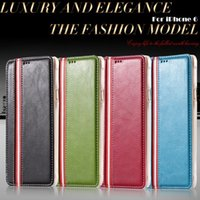 Wholesale Stripe Iphone - Electronic Accessories & Parts Shell For iphone 6 Ultra Slim PU Leather Stripe Grain Wallet Stand Cover For iphone 6 4.7''