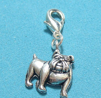50pcs Vintage Silvers Bulldog Dog Alloy Floating Locket Encantos Pendentes Clipper Clip para Pulseira Mulheres Fashions Jóias Findings HOT P1667