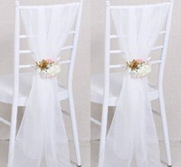 Wholesale Cheap Ribbon Decorations - 2017 Cheap Sample Wedding Chair Sashes White Wedding Chair Ribbon Gauze Back Sash Back Of The Chair Decoration Covers Party Wedding Suppies