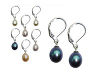 PEARL GENUINO FRESHWATER - DROP DANGLE ORECCHINI - 18K GP SILVER LEAS CLASP - 4 COLORI