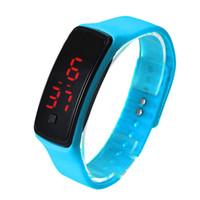 ingrosso braccialetto per le donne-2015 schermo di visualizzazione Sport rettangolo LED Digital orologi di gomma braccialetti di silicone cinghia da polso degli uomini di modo caramella delle donne orologio da polso