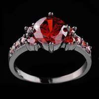 Red Sapphire Black Gold Filled Ring Lady's 10KT Anillos de dedo para mujeres Anel Feminino Fashion Jewelry Talla 6/7/8/9/10