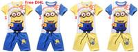 Wholesale Minions Children Tshirt - Kids Cartoon 2PCS Outfits Set 100% Cotton Despicable Me Minions Boys Short Tshirt Pants 2PCS Set Children Casual Set Clothes