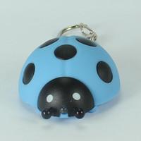 tier-ton schlüsselbund großhandel-Marienkäfer Stil Licht LED Keychain mit Sound Taschenlampe Schlüsselanhänger Tier Keychain Geschenk für Kinder Freies Verschiffen ZA5328