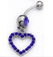 Wholesale Wholesale Open Hearts Jewelry - Dark Blue Open Heart CZ Gem Rhinestone Belly Navel Ring Body Jewelry