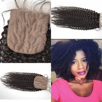 Wholesale Indian Remy Silk Top - Fabulous Vietnamese Remy Silk Base Closure 8-24'' Natural Color,Vietnamese Virgin Silk Top Closure,Free Part KINKY CRLY Closures G-EASY