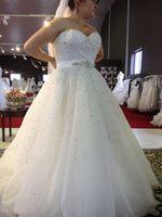 Wholesale Amazing Wedding Dress Sweetheart Tulle - New Amazing 2017 Plus Size Wedding Dresses Sweetheart Beading A Line Sweep Train Glamorous White Dress For Bridal Vestidos De Noiva Custom