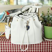 Wholesale Korean White Tote Leather Bag - 2014 new Japanese and Korean style fabulous bucket bag with a clasp tide handbag shoulder bag Messenger bag woman