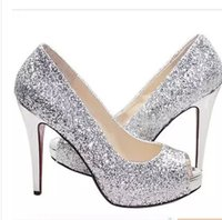 Wholesale Shoes Sequins Fish - 2015 The new 2015 silver sequins waterproof Taiwan women's fashion fine with high heels fish mouth shoes bride wedding shoes
